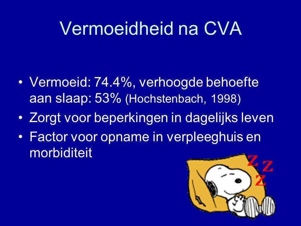 Vermoeidheid na CVA Vermoeid: 74.4%, verhoogde behoefte aan slaap: 53% (Hochstenbach, 1998) Zorgt voor beperkingen in dagelijks leven.