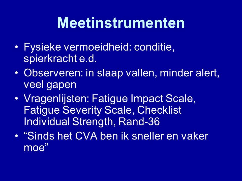 Meetinstrumenten Fysieke vermoeidheid: conditie, spierkracht e.d.