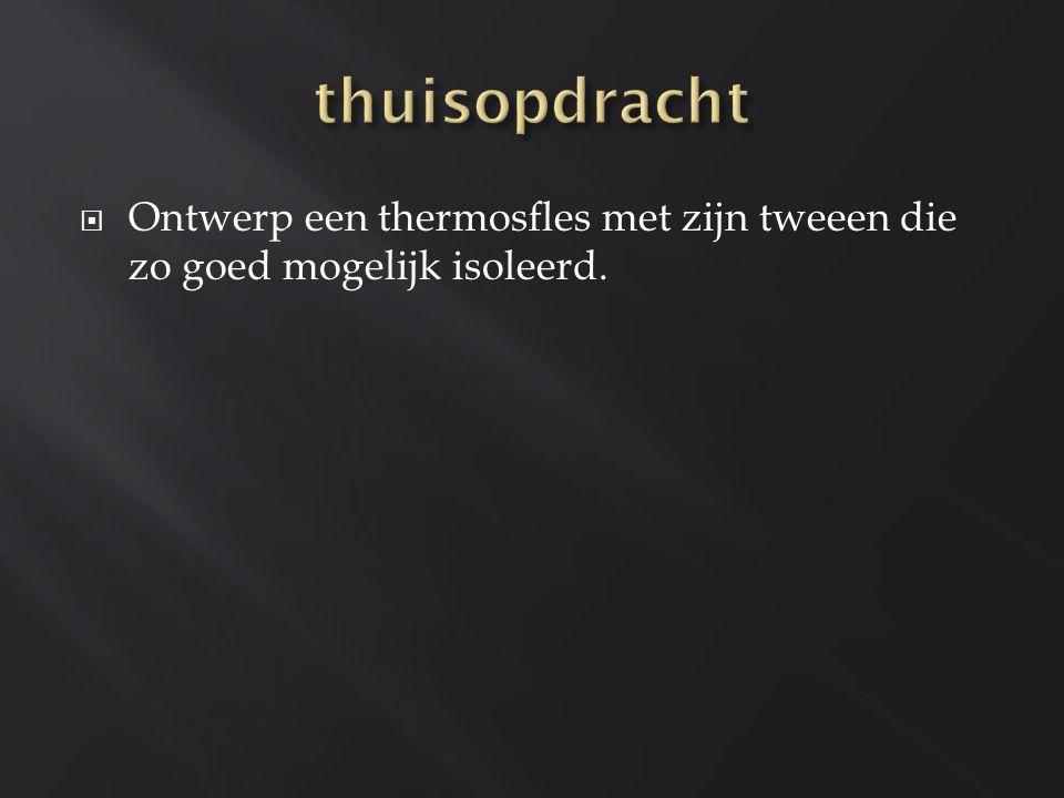thuisopdracht Ontwerp een thermosfles met zijn tweeen die zo goed mogelijk isoleerd.