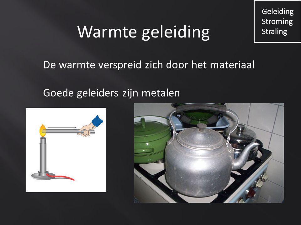 Warmte geleiding De warmte verspreid zich door het materiaal