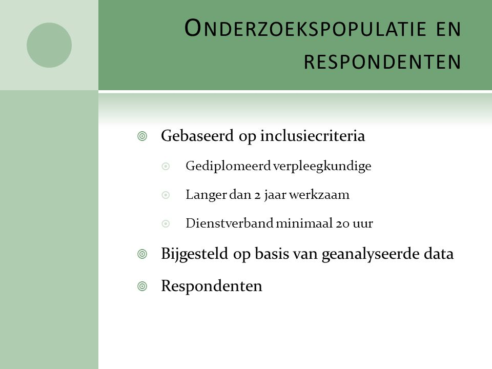 Onderzoekspopulatie en respondenten