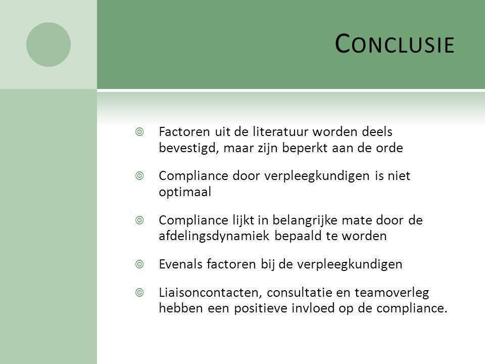 Conclusie Factoren uit de literatuur worden deels bevestigd, maar zijn beperkt aan de orde. Compliance door verpleegkundigen is niet optimaal.