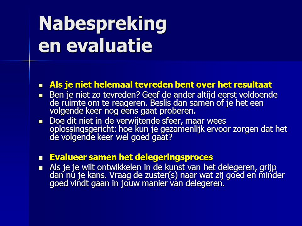 Nabespreking en evaluatie