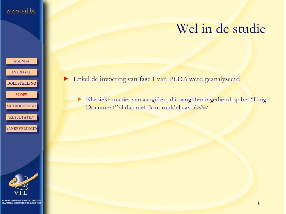 Wel in de studie AGENDA. INTRO VIL. Enkel de invoering van fase 1 van PLDA werd geanalyseerd.