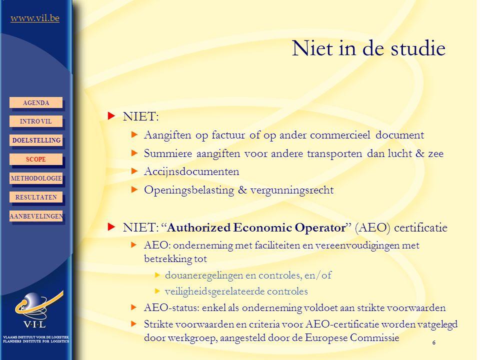 Niet in de studie AGENDA. NIET: Aangiften op factuur of op ander commercieel document. Summiere aangiften voor andere transporten dan lucht & zee.