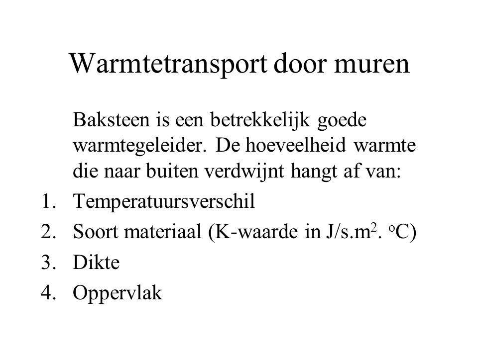 Warmtetransport door muren