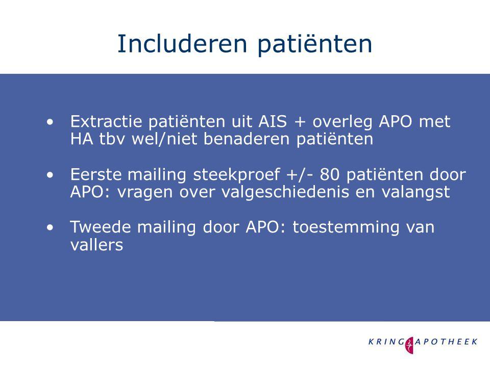 Includeren patiënten Extractie patiënten uit AIS + overleg APO met HA tbv wel/niet benaderen patiënten.