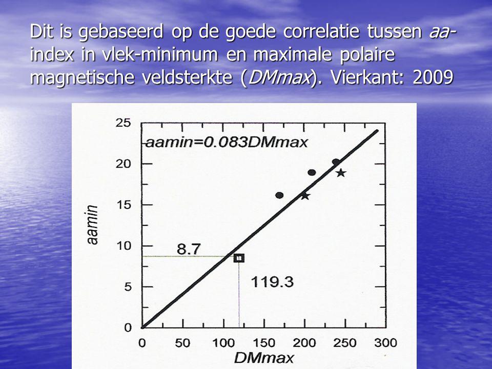 Dit is gebaseerd op de goede correlatie tussen aa-index in vlek-minimum en maximale polaire magnetische veldsterkte (DMmax).