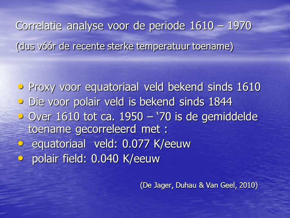 Proxy voor equatoriaal veld bekend sinds 1610