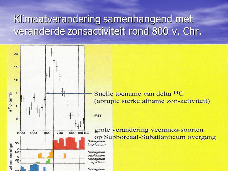 Klimaatverandering samenhangend met veranderde zonsactiviteit rond 800 v. Chr.