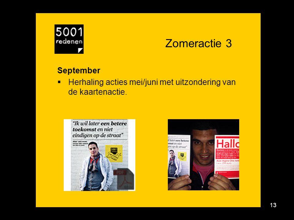 Zomeractie 3 September Herhaling acties mei/juni met uitzondering van de kaartenactie.