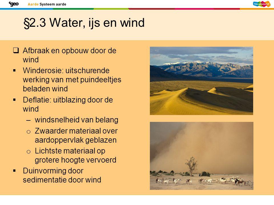 §2.3 Water, ijs en wind Afbraak en opbouw door de wind