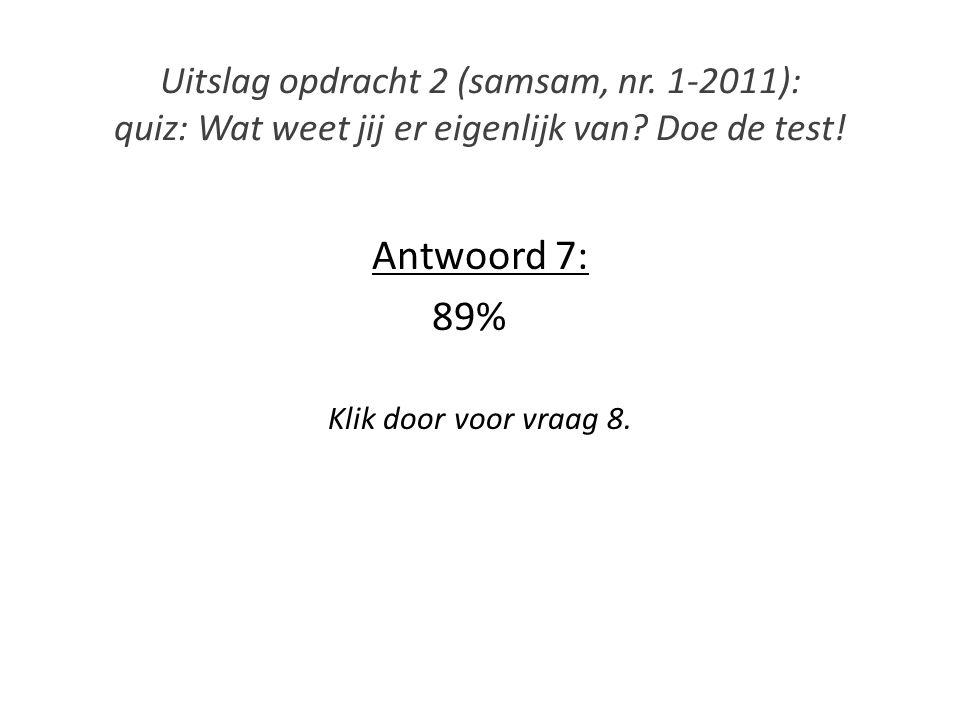 Antwoord 7: 89% Klik door voor vraag 8.