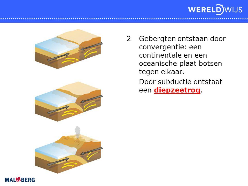 2 Gebergten ontstaan door convergentie: een continentale en een oceanische plaat botsen tegen elkaar.