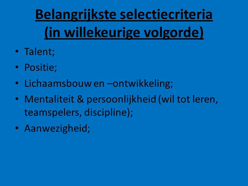 Belangrijkste selectiecriteria (in willekeurige volgorde)