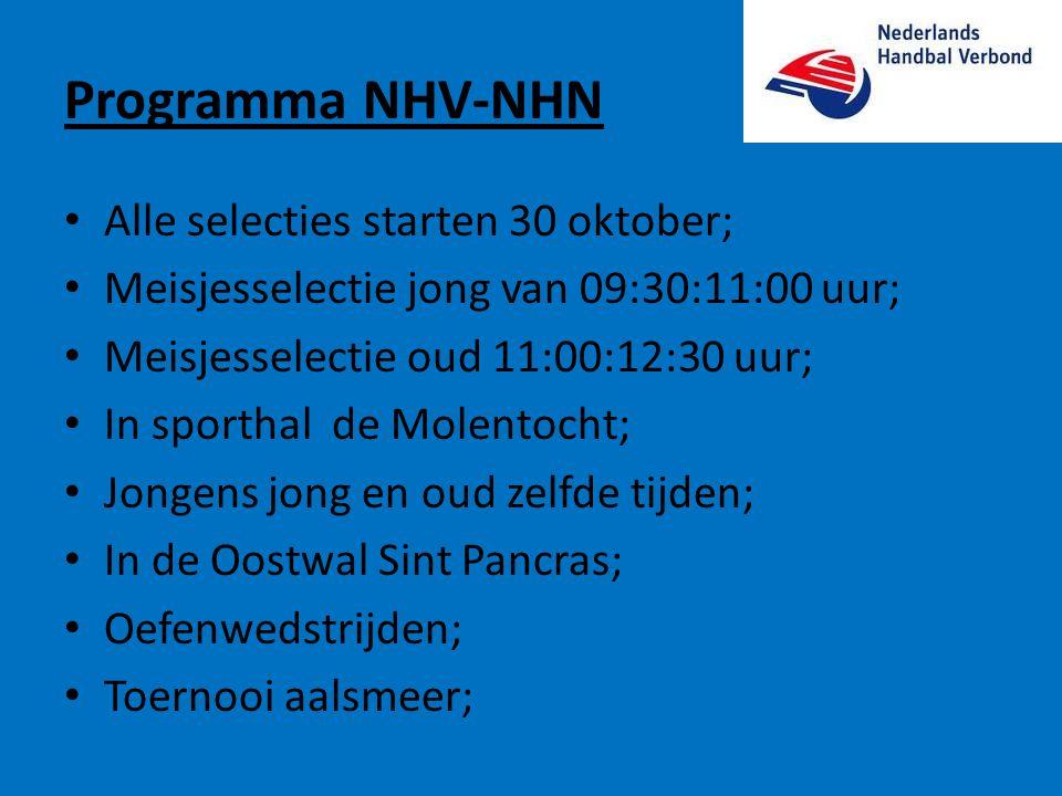 Programma NHV-NHN Alle selecties starten 30 oktober;