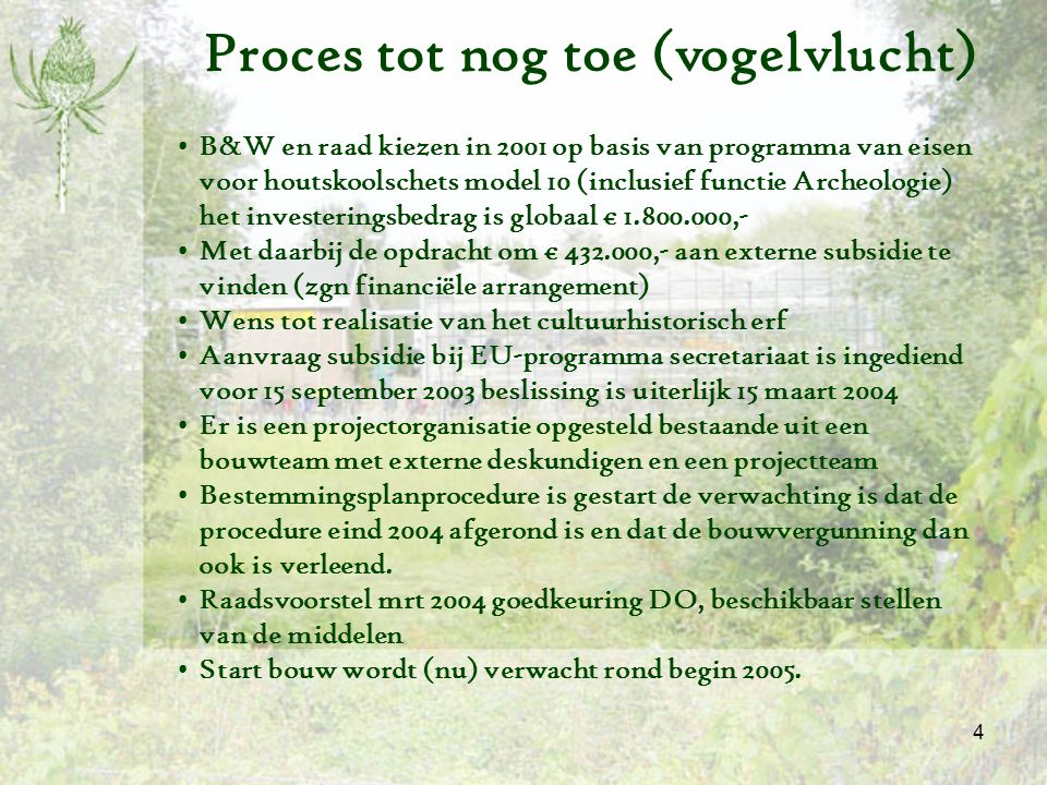 Proces tot nog toe (vogelvlucht)