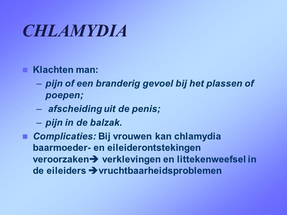 CHLAMYDIA Klachten man: