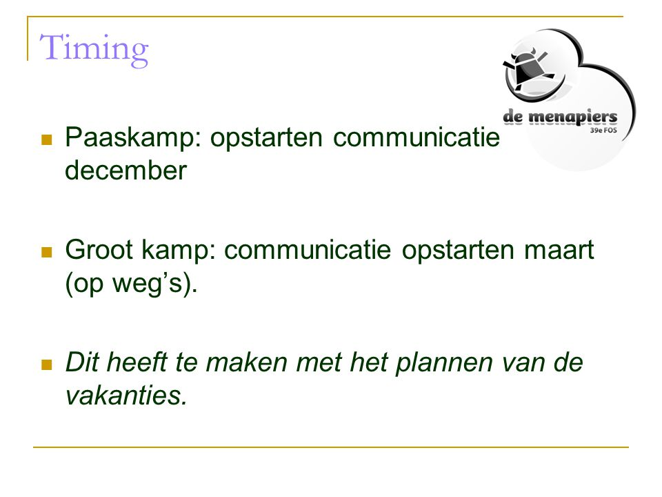 Timing Paaskamp: opstarten communicatie december