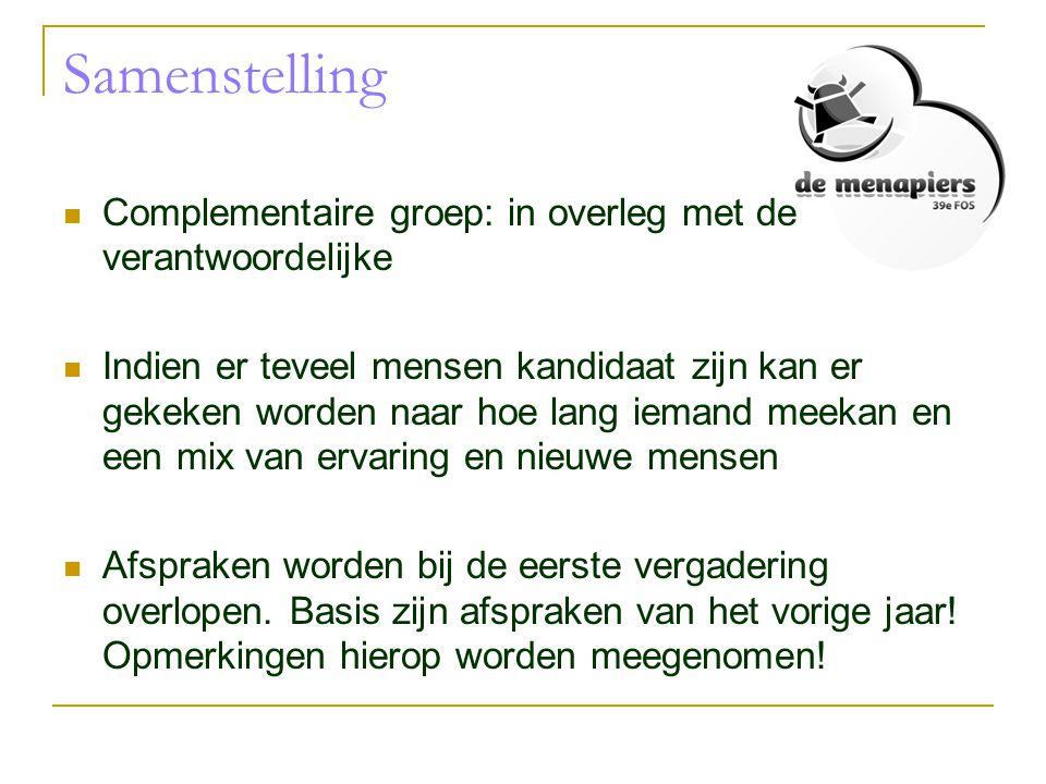 Samenstelling Complementaire groep: in overleg met de verantwoordelijke.