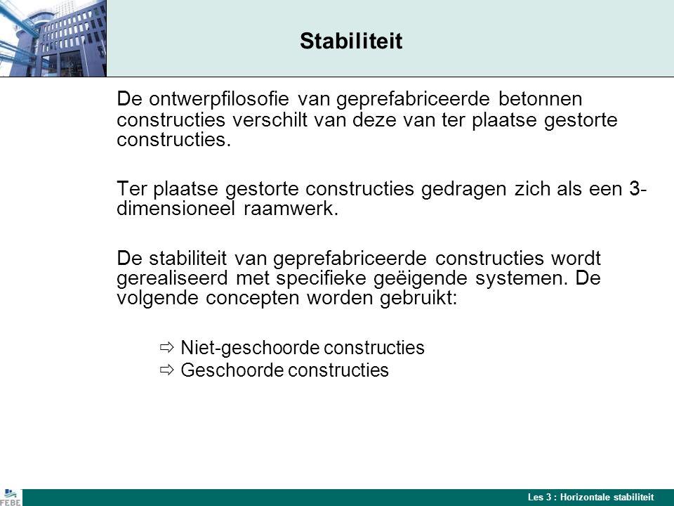 Stabiliteit De ontwerpfilosofie van geprefabriceerde betonnen constructies verschilt van deze van ter plaatse gestorte constructies.