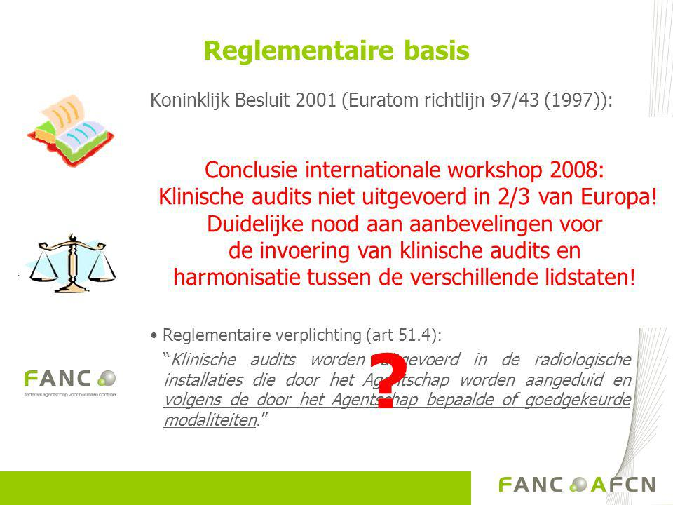 Reglementaire basis Conclusie internationale workshop 2008: