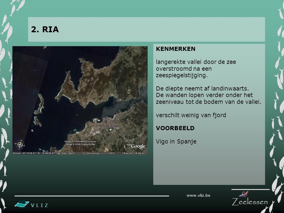 2. RIA KENMERKEN. langerekte vallei door de zee overstroomd na een zeespiegelstijging. De diepte neemt af landinwaarts.