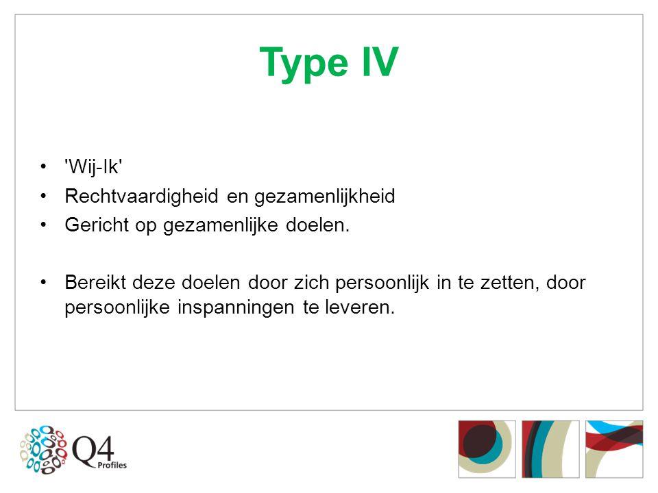 Type IV Wij-Ik Rechtvaardigheid en gezamenlijkheid