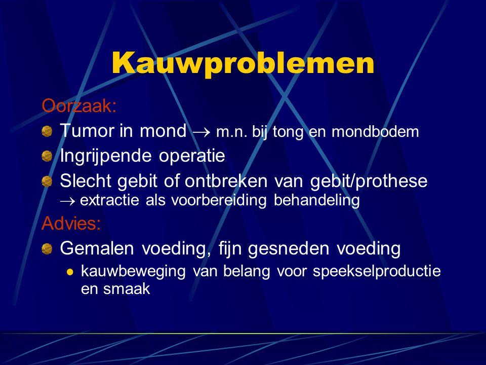 Kauwproblemen Oorzaak: Tumor in mond  m.n. bij tong en mondbodem