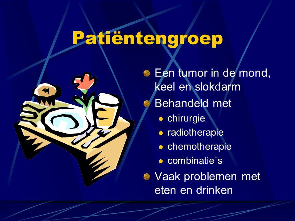 Patiëntengroep Een tumor in de mond, keel en slokdarm Behandeld met