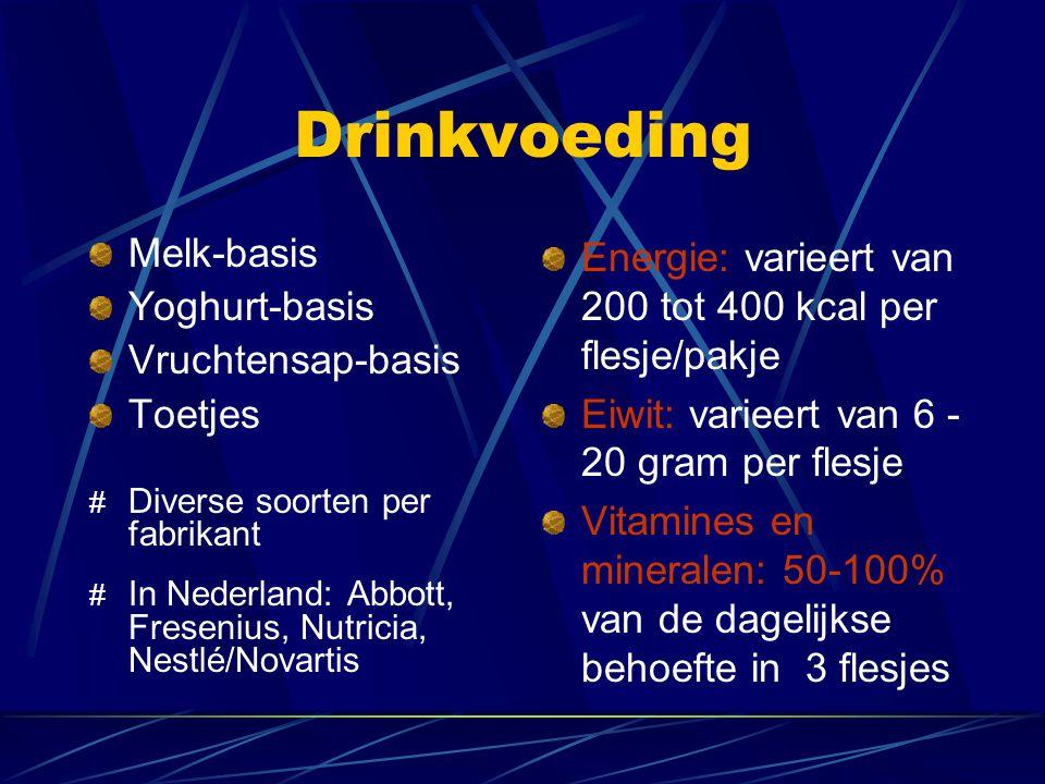 Drinkvoeding Melk-basis Yoghurt-basis Vruchtensap-basis Toetjes