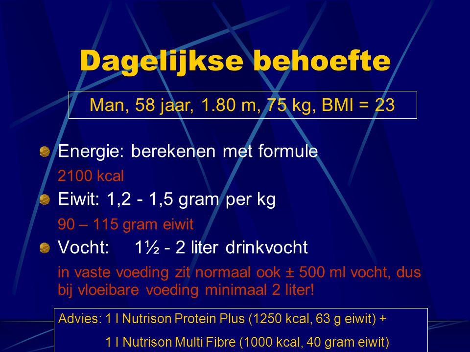 Dagelijkse behoefte Man, 58 jaar, 1.80 m, 75 kg, BMI = 23