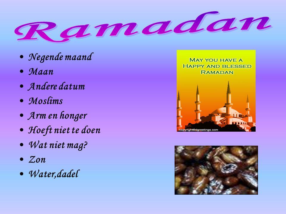 Ramadan Negende maand Maan Andere datum Moslims Arm en honger