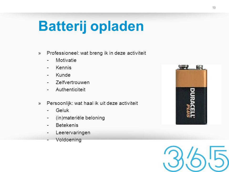 Batterij opladen Professioneel: wat breng ik in deze activiteit