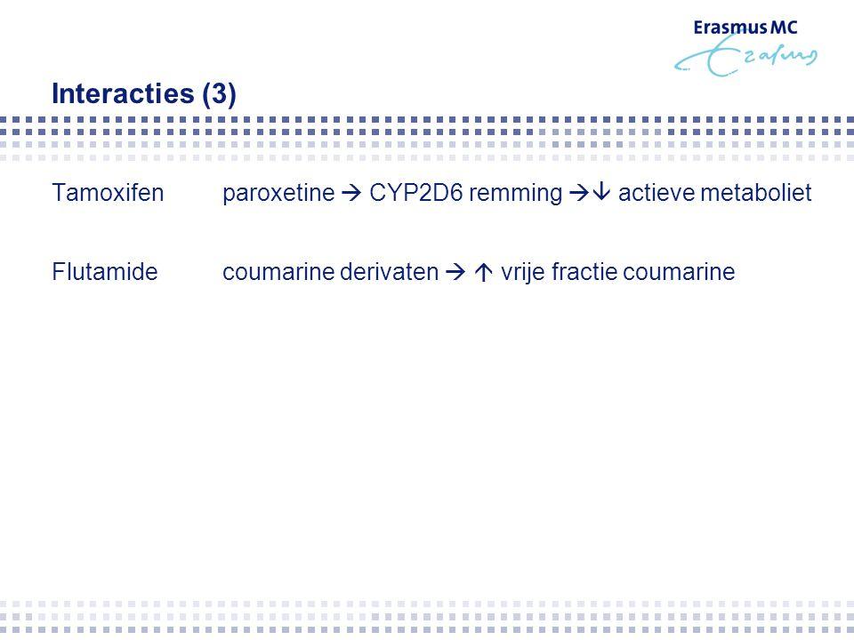 Interacties (3) Tamoxifen paroxetine  CYP2D6 remming  actieve metaboliet Flutamide coumarine derivaten   vrije fractie coumarine