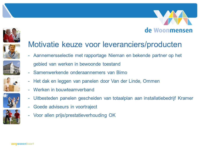 Motivatie keuze voor leveranciers/producten