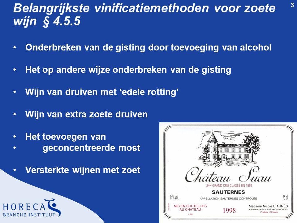 Belangrijkste vinificatiemethoden voor zoete wijn § 4.5.5
