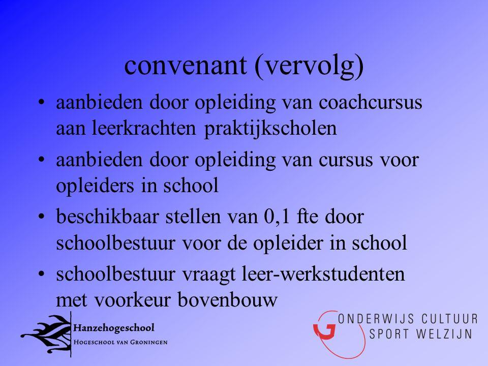 convenant (vervolg) aanbieden door opleiding van coachcursus aan leerkrachten praktijkscholen.