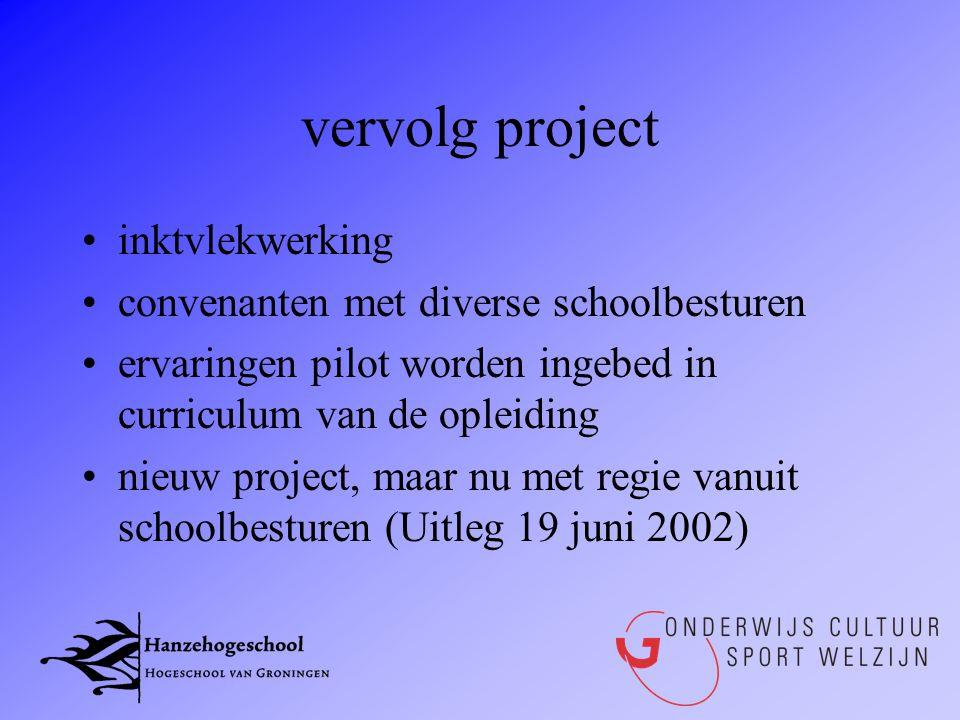 vervolg project inktvlekwerking convenanten met diverse schoolbesturen