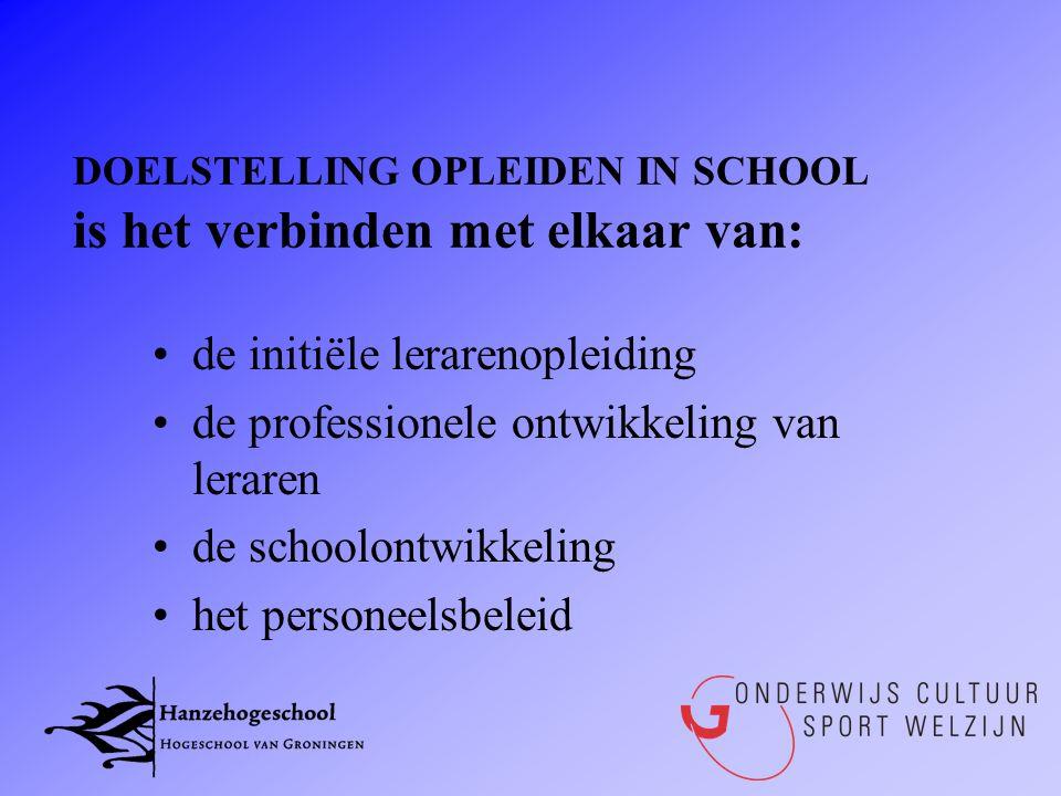 DOELSTELLING OPLEIDEN IN SCHOOL is het verbinden met elkaar van: