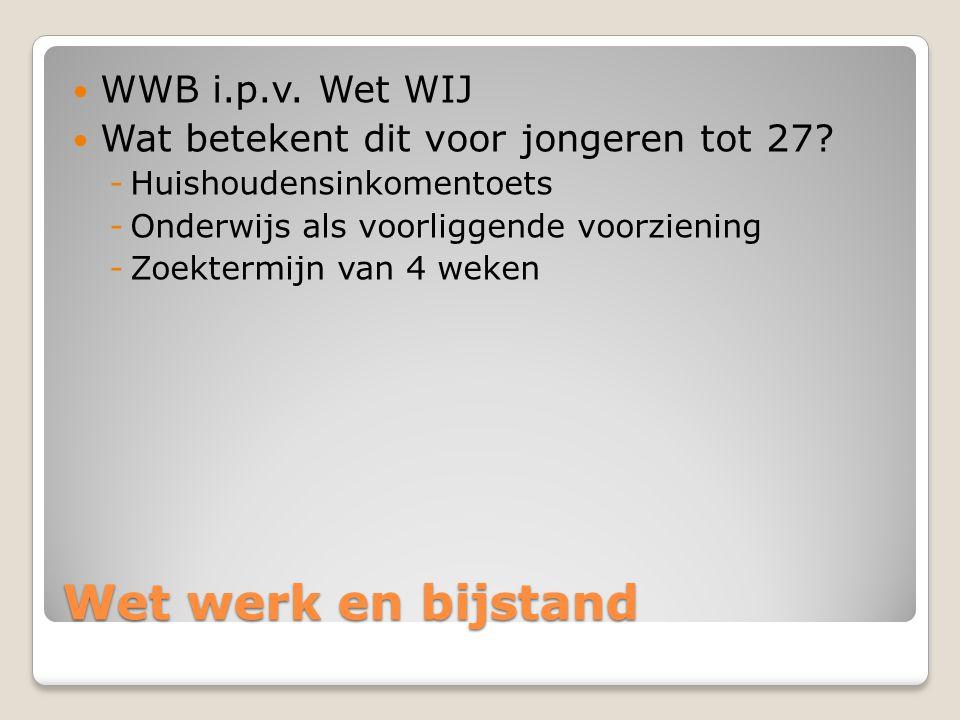 Wet werk en bijstand WWB i.p.v. Wet WIJ