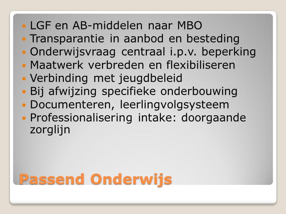 Passend Onderwijs LGF en AB-middelen naar MBO