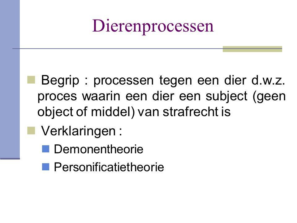 Dierenprocessen Begrip : processen tegen een dier d.w.z. proces waarin een dier een subject (geen object of middel) van strafrecht is.