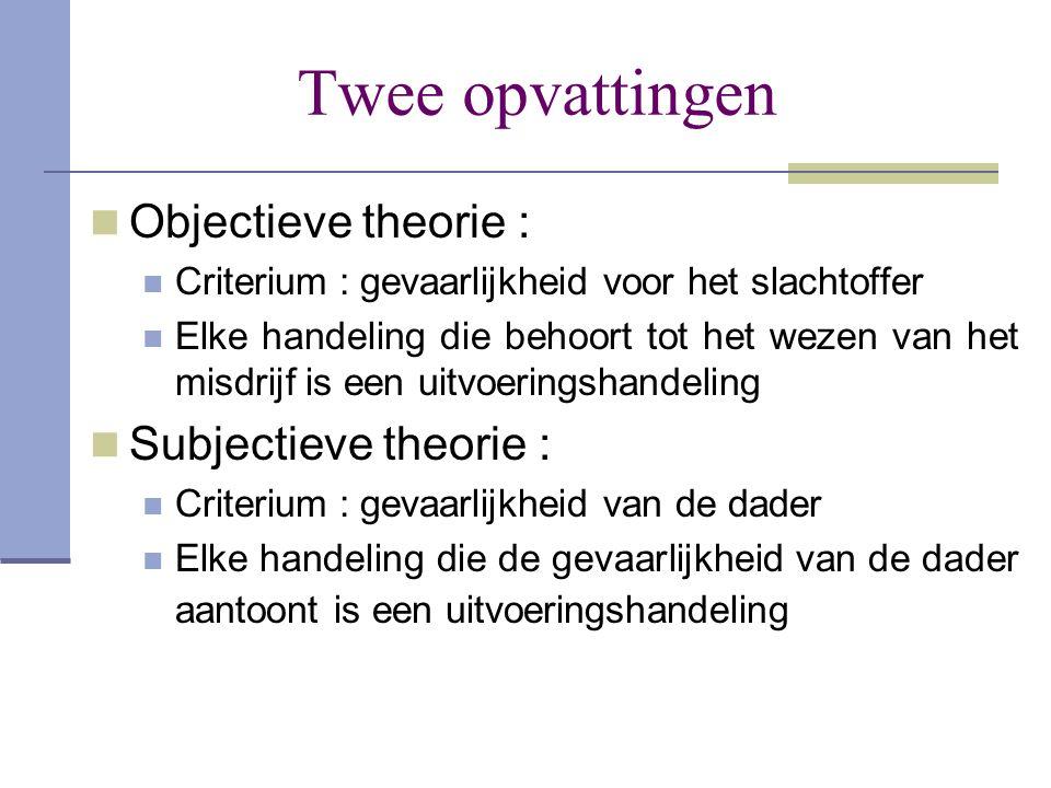 Twee opvattingen Objectieve theorie : Subjectieve theorie :