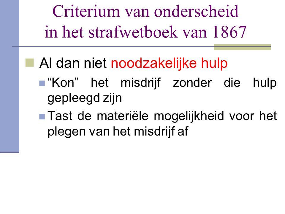 Criterium van onderscheid in het strafwetboek van 1867