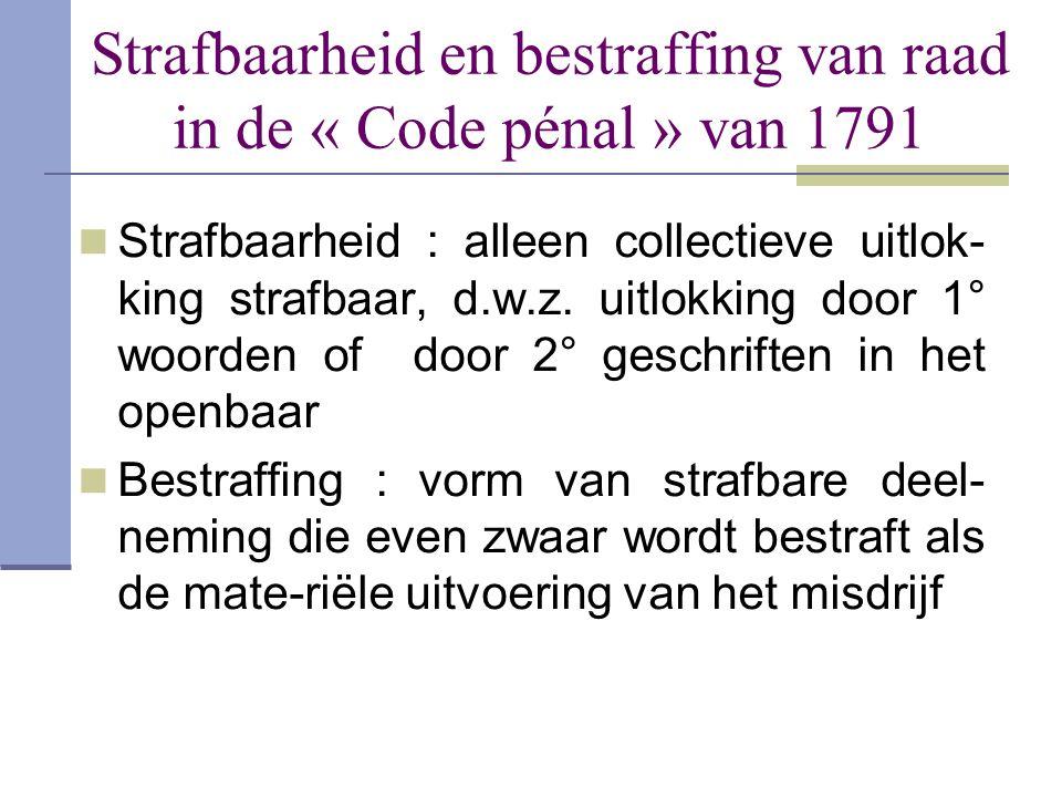 Strafbaarheid en bestraffing van raad in de « Code pénal » van 1791