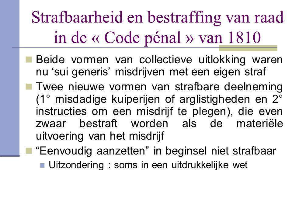 Strafbaarheid en bestraffing van raad in de « Code pénal » van 1810