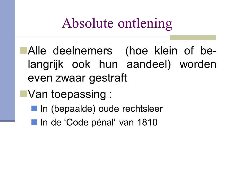 Absolute ontlening Alle deelnemers (hoe klein of be-langrijk ook hun aandeel) worden even zwaar gestraft.