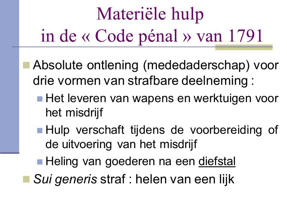 Materiële hulp in de « Code pénal » van 1791