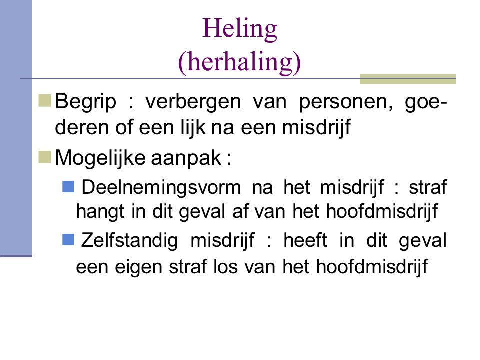 Heling (herhaling) Begrip : verbergen van personen, goe-deren of een lijk na een misdrijf. Mogelijke aanpak :